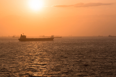 anchorage: Sea anchorage of cargo ships during sunset.