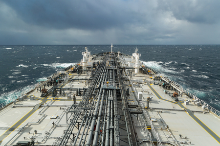 rough sea: Forward part of oil tanker deck in the rough sea