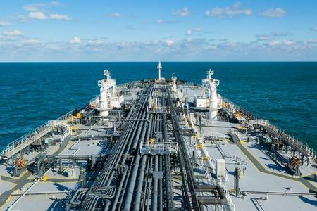 crude: Cargo deck of crude oil tanker in the sea.