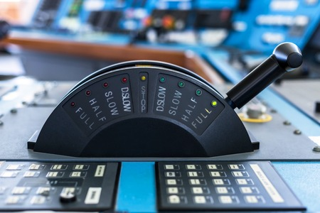 Control stick of a cargo ship in full ahead mode.