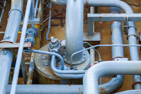 Pipeline on a deck of a oil product tanker. Stock Photo