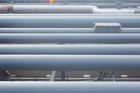 Oil transportation pipeline of the tanker. Stock Photo