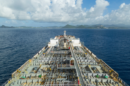 Oil product tanker at anchor near from Santa Lucia. Stock Photo