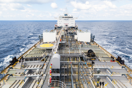 Oil tanker deck while calm weather. View from masthead. Stock Photo