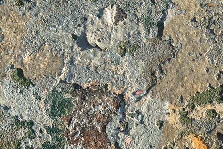 Rusted gray and green painted metal surface. Stock Photo