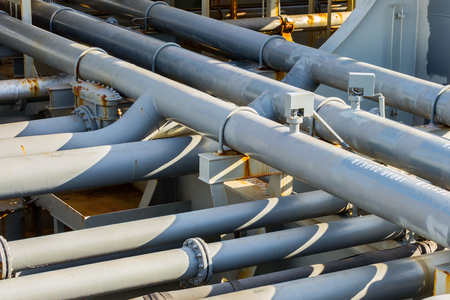 Pipes of oil tanker cargo system.