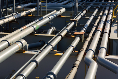 Pipes of oil product tanker cargo system. Stock Photo