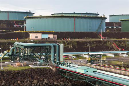 Oil storage with the pipeline system in the sea port.