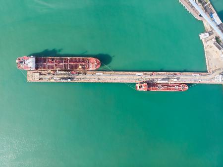 Oil terminal with tankers - aerial view. Zdjęcie Seryjne