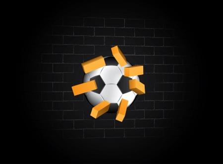 struck: vector illustrator ball struck the brick wall of a