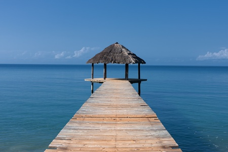 mayotte: Hut on the background of ocean on the ile of Mayotte  Stock Photo