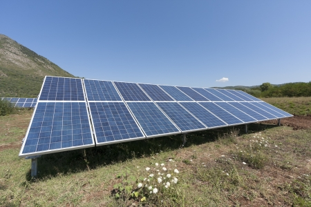Solar panels in a green field Stock Photo - 14792630