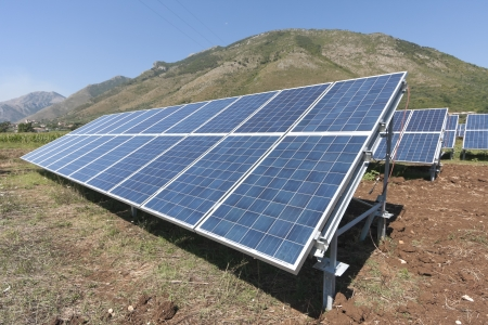 Renewable energy with solar panels  photo