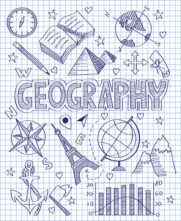 geography: Hand drawn Geography set Illustration
