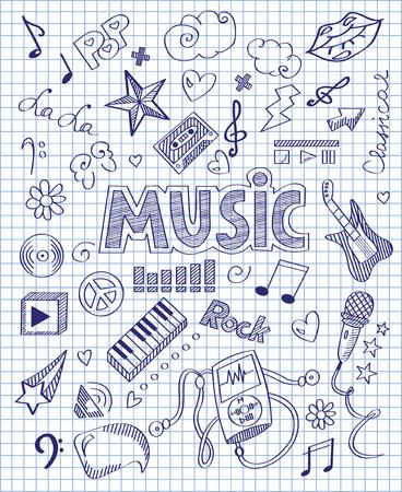 Hand drawn music set Vektoros illusztráció