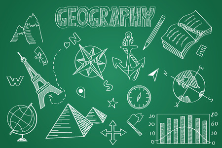Hand drawn Geography set. Chalk on the blackboard