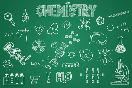 Hand drawn Chemistry set. Chalk on the blackboard