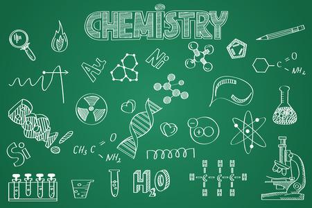 Hand drawn Chemistry set. Chalk on the blackboard