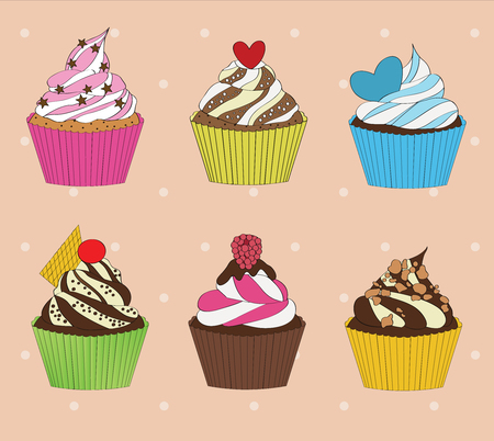 palatable: set of cupcakes on vintage background