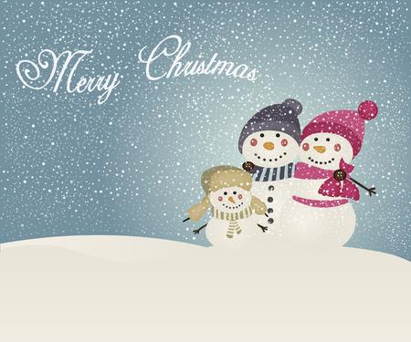Familia del muñeco de nieve de la Navidad Foto de archivo - 51373821