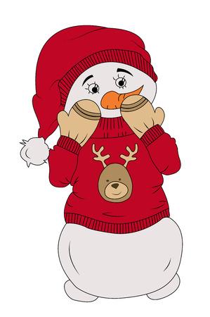 ashamed: hiding christmas snowman on a white bacground