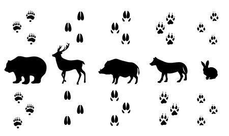 huellas pies: vector conjunto de huellas de animales de granja caminar