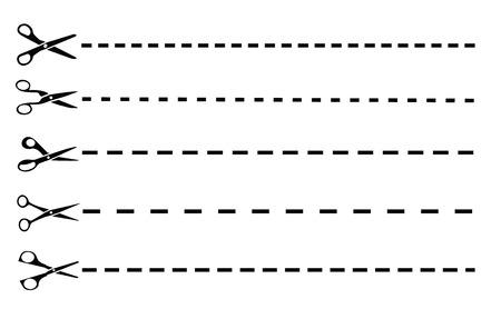 Vector scissors with dashed lines Stock Illustratie