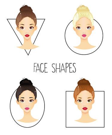 4 개의 다른 여자의 얼굴 모양의 세트