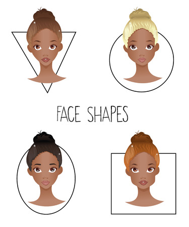 light brown hair: Set of four different womans face shapes (African American version)