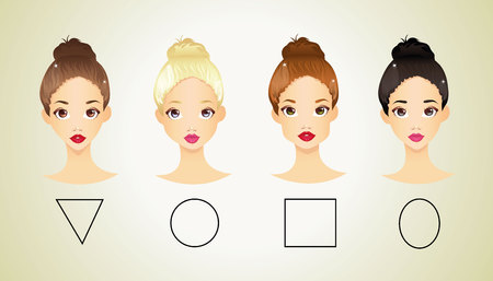 light brown hair: Different shapes of face Illustration