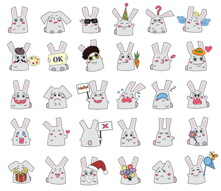 rabbits ( bunnies ) in smiles of a vector illustration