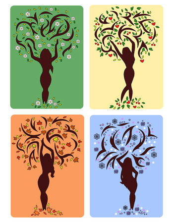 nature woman: vectori illustration of a four season like girls