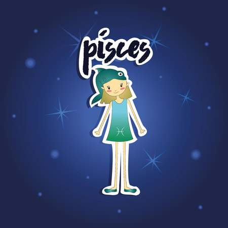 pisces: cartoon Pisces girl Illustration