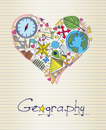 geography: geography in shape of heart Illustration