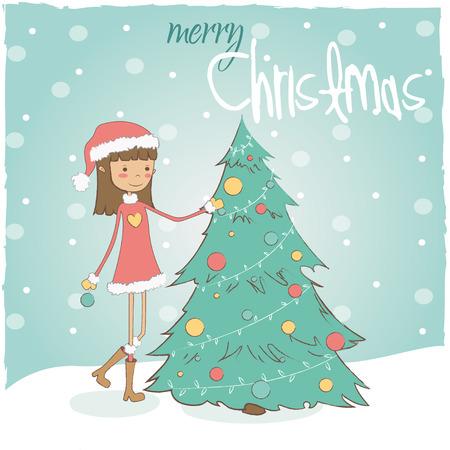 girl with Christmas tree Illustration