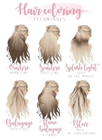 hair coloring techniques Stock Vector - 84881648