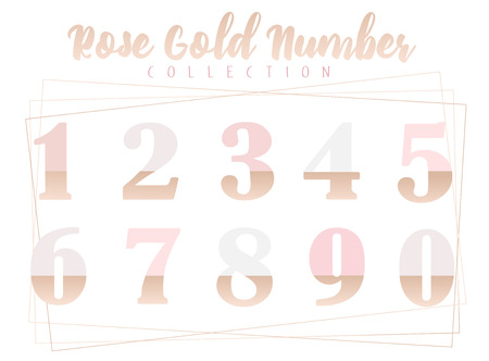 Rose gold numbers collection of vector ilustration on white background
