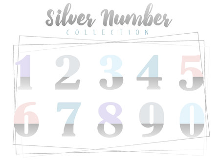 Silver numbers collection of vector ilustration on white background with geometrical elements