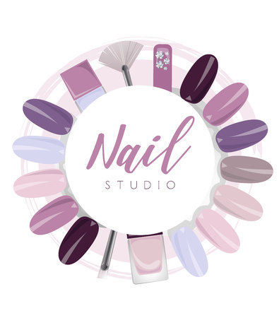 Nail studio logo with elements in purple colour