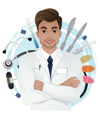 Attractive male doctor in white gown on medical objects background 矢量图像