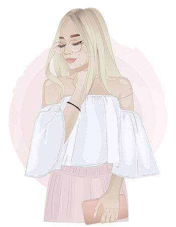 Schönes blondes Mädchen, das eine Kupplung auf rosa Hintergrund hält