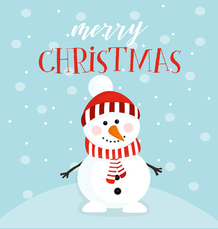 snowman wish a merry christmas of a vector illustration