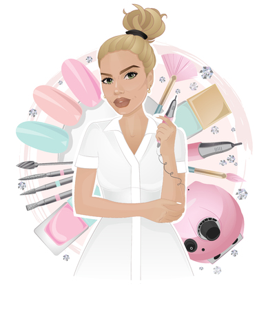 Nail master with instruments on elements background