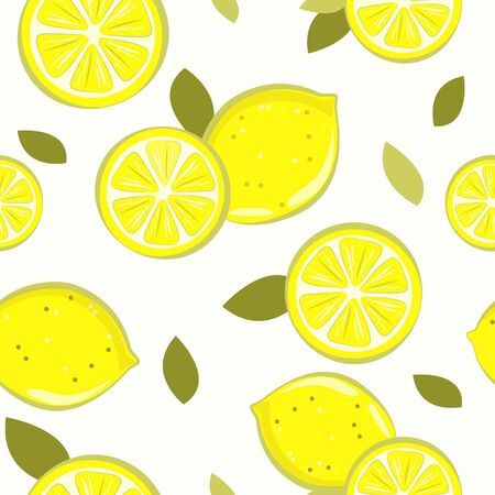 set of lemon yellow pattern on white background Ilustrace