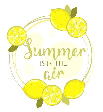Set of fresh lemons in circle of vector illustrations on white background