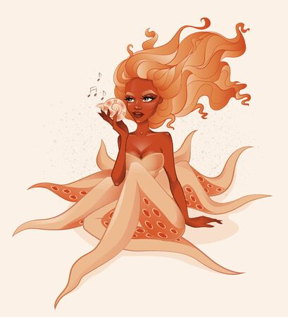 Cute orange half human octopus holding shell in hand