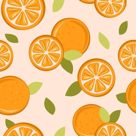 set of oranges pattern on nude background