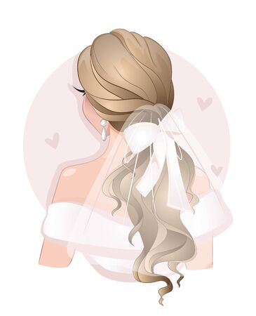 Beautiful young girl bride with fashion wedding hairstyle Standard-Bild - 138528121