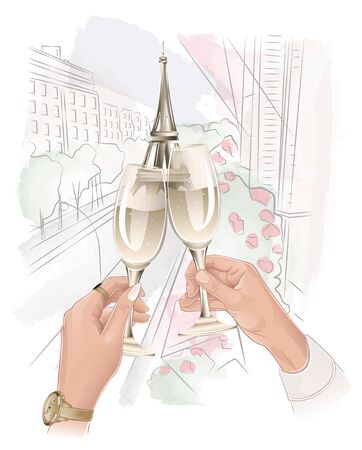 romantic couple holding glasses with champagne in paris