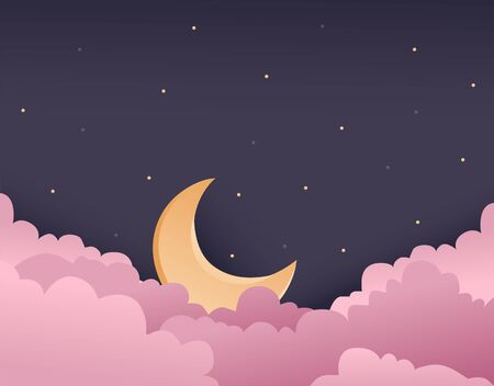 vector illustration of night purple sky with pink clouds and gold moon